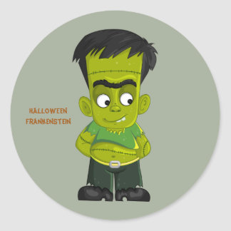 Animated Halloween Frankenstein Classic Round Sticker