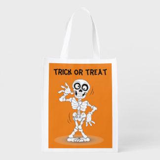 Animated Halloween Skeleton Grocery Bag