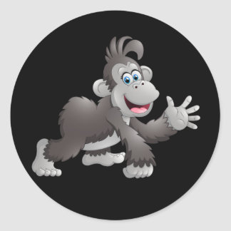 Animated Happy Monkey Classic Round Sticker