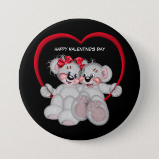 Animated Happy Valentine's Day Bears Pinback Button