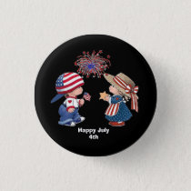 Animated July 4th children Pinback Button