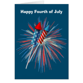 Animated July 4th fireworks and rockets Card