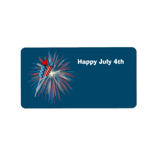 Animated July 4th fireworks and rockets Label