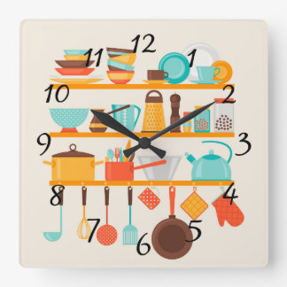 Animated Kitchen Items Square Wall Clock