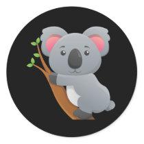 Animated Koala Bear Classic Round Sticker