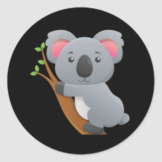 Animated Koala Bear Classic Round Sticker