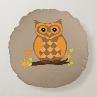 Animated Owl Round Pillow