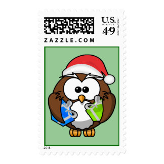 Animated Owl Santa Claus Stamp