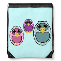 Animated Owls Background Drawstring Bag