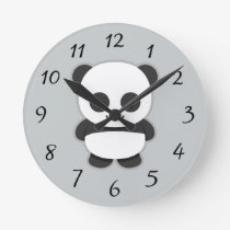 Animated Panda Bear Round Clock
