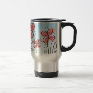 animated-pink-flowers-vector travel mug