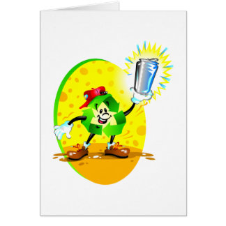 Animated recycling symbol with aluminum can card