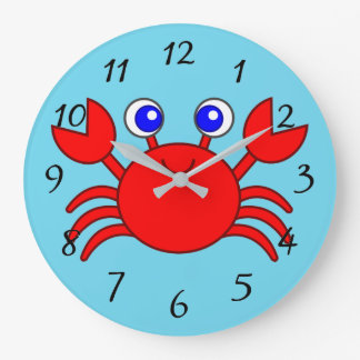 Animated Red Crab Large Clock