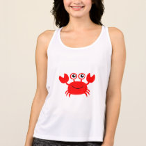 Animated Red Smiling Crab tank top