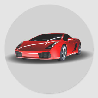 Animated Red Sports Car Classic Round Sticker