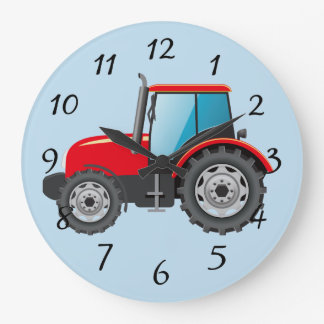 Animated Red Tractor Large Clock