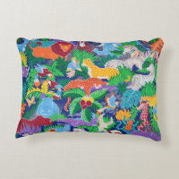 Animated Safari Animals Decorative Pillow