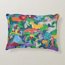 Animated Safari Animals Decorative Pillow