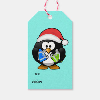 Animated Santa Claus Penguin Gift Tags