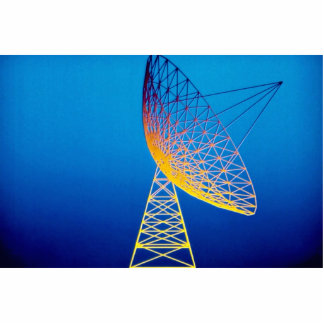Animated satellite dish over blue background cutout