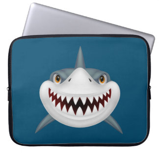 Animated Scary Shark Face Laptop Sleeve