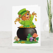 Animated St. Patrick's Day Bear with pot of gold Card