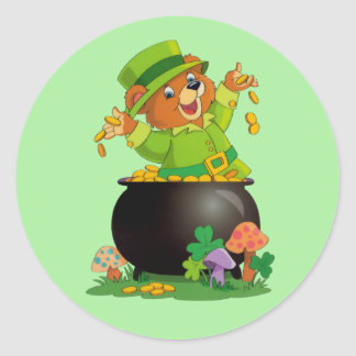 Animated St. Patrick's Day Bear with pot of gold Classic Round Sticker