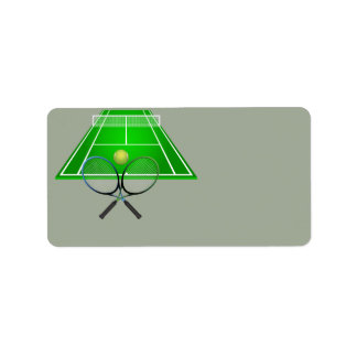 Animated Tennis Court and rackets Label