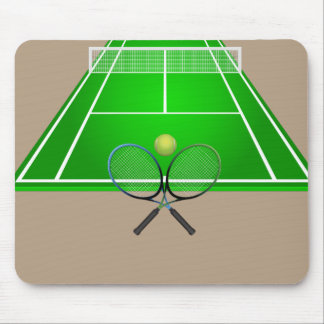 Animated Tennis Court and rackets Mouse Pad