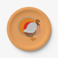Animated Thanksgiving Turkey 7 Inch Paper Plate