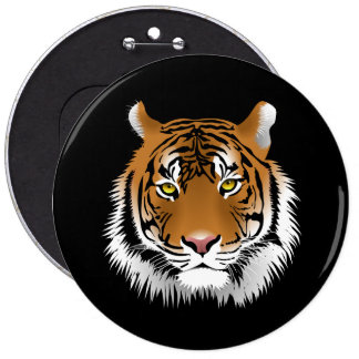 Animated Tiger Face Pinback Button