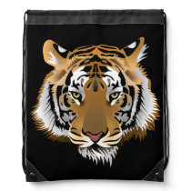 Animated Tigers Face Drawstring Bag