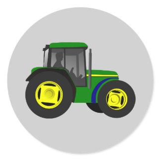 Animated Tractor Classic Round Sticker