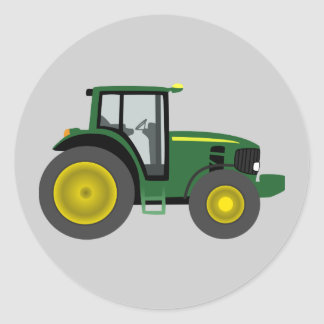 Animated Tractor Classic Round Sticker