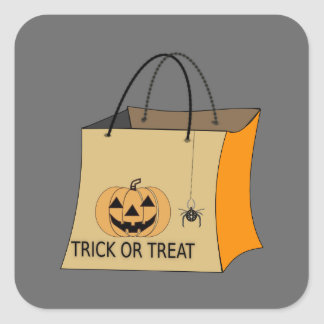Animated trick or treat bag square sticker