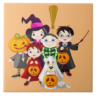 Animated Trick or Treat Children Tile