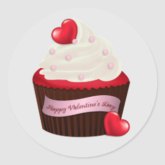 Animated Valentine's Day Cupcake Classic Round Sticker