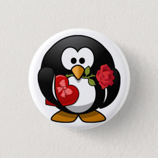 Animated Valentine's Day Penguin Pinback Button