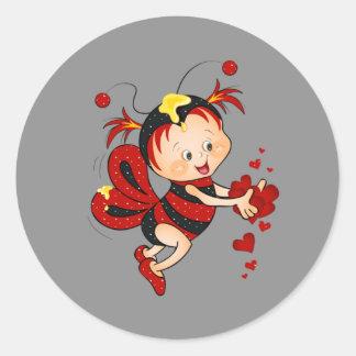 Animated Valentine's Day Red Bee Classic Round Sticker