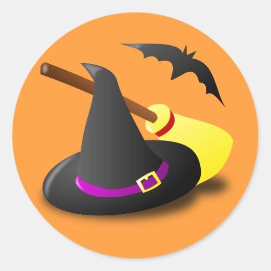 Animated witch hat broom classic round sticker | Zazzle.com