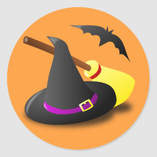 Animated witch hat broom classic round sticker