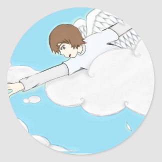 Anime Angel Boy Reaching Out From Clouds Classic Round Sticker