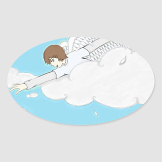 Anime Angel Boy Reaching Out From Clouds Oval Sticker