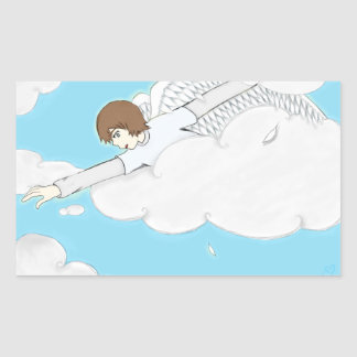 Anime Angel Boy Reaching Out From Clouds Rectangular Sticker