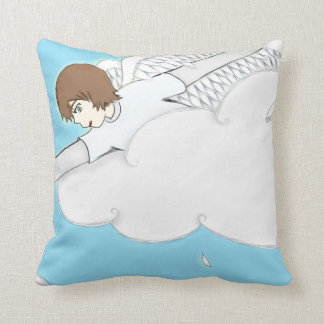 Anime Angel Boy Reaching Out From Clouds Throw Pillow