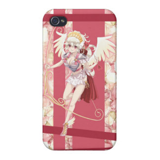 Anime Angelic Cupid - Pink, On Roses iPhone 4 Cover
