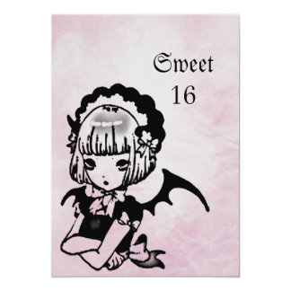 Anime Bat Girl Goth Fantasy Sweet 16 Birthday Card