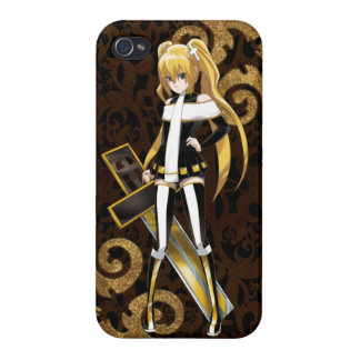 Anime Beauty of The Cross - Gold Brocades on Black Covers For iPhone 4