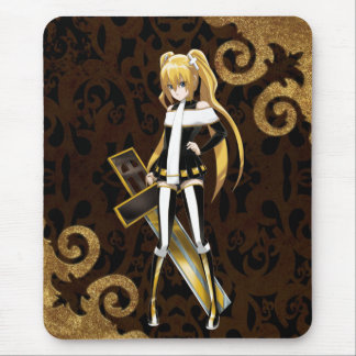 Anime Beauty of The Cross - Gold Brocades on Black Mouse Pad