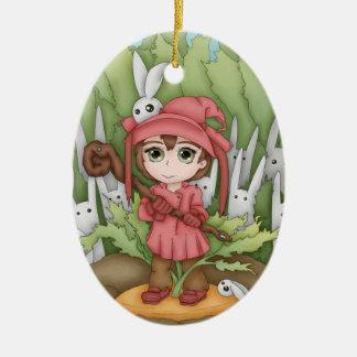 Anime Bunnies In The Garden Artwork Christmas Tree Ornaments